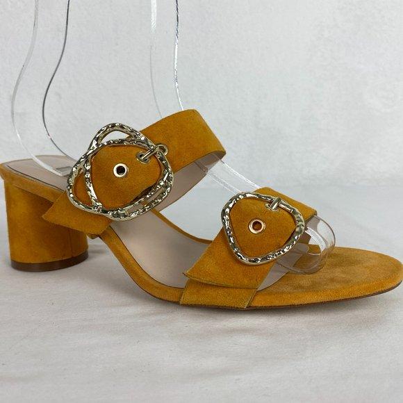 Zara Basic Mustard Yellow Gold Heel Strappy Sandal